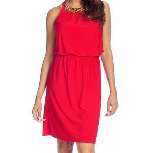 aDRESSind WOMAN RED DRESS CHAIN W NECKLACE SIZE S
